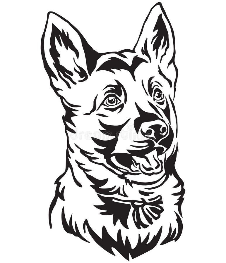 小狗德国牧羊犬狗传染媒介例证装饰画象  向量例证