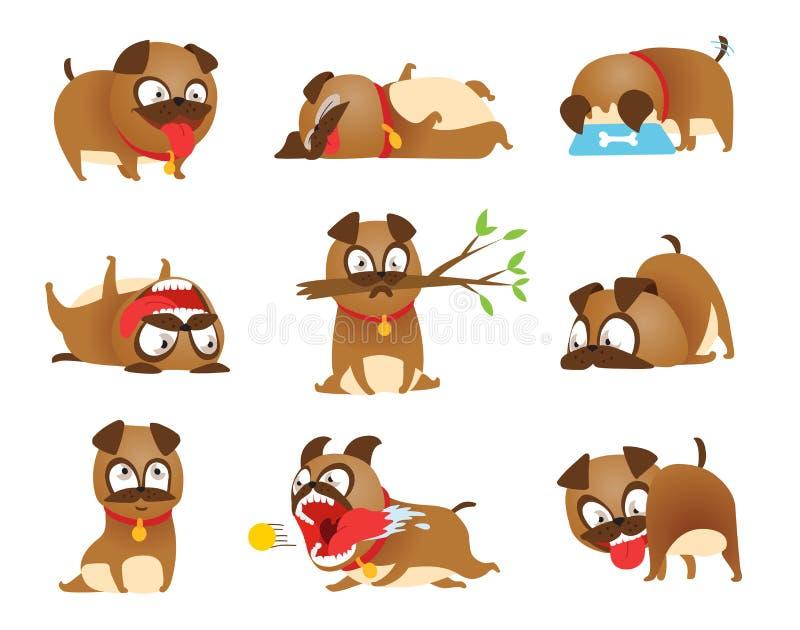 小狗活动集合 动画片狗集合 狗把戏象和行动训练开掘的土吃宠物食品跳跃的扭动 库存例证