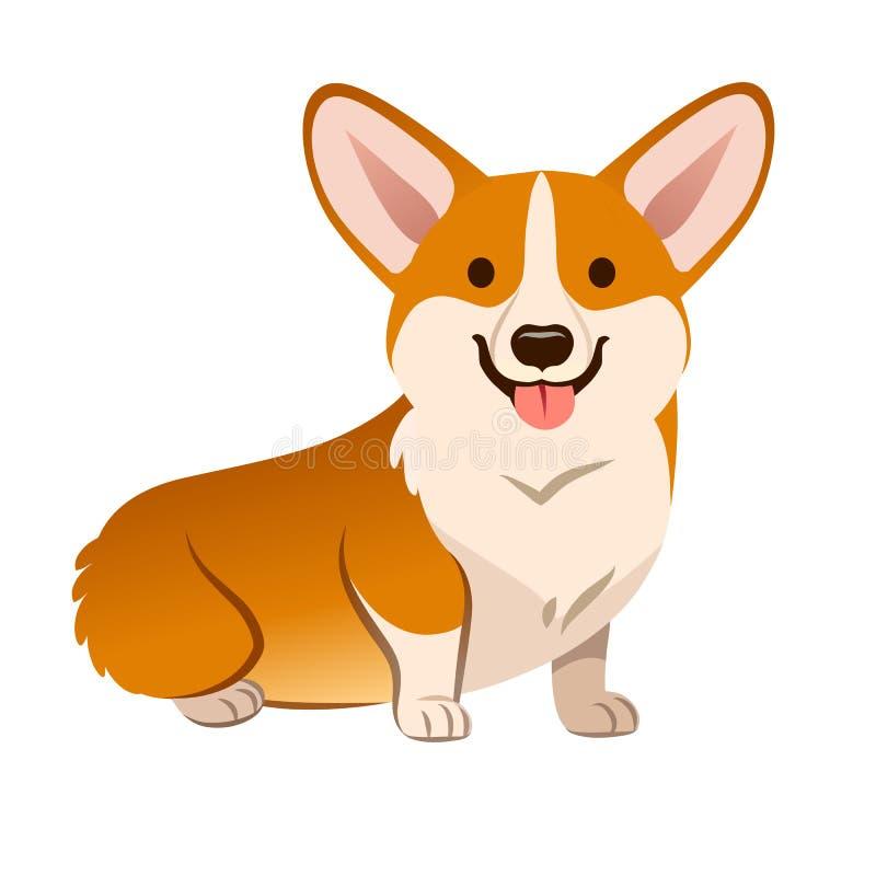 小狗狗传染媒介动画片例证 逗人喜爱的友好的威尔士小狗 皇族释放例证