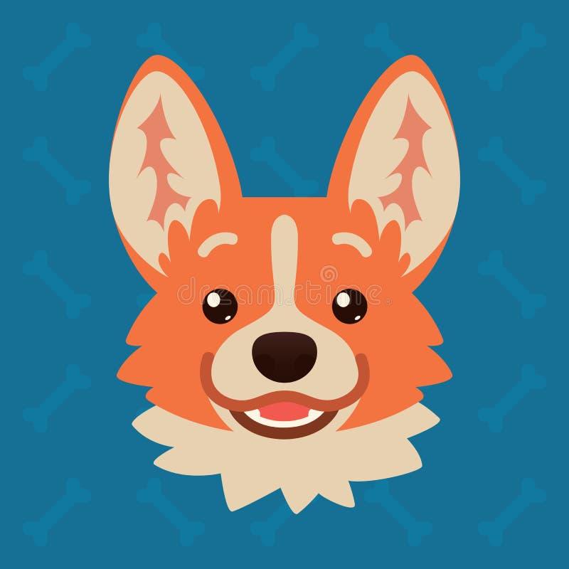 小狗狗情感头 逗人喜爱的狗的传染媒介例证在平的样式的显示愉快的情感 梦想家emoji 图标面带笑容 向量例证