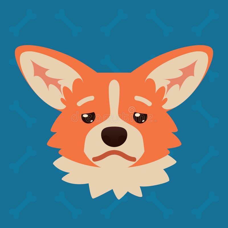 小狗狗情感头 逗人喜爱的狗的传染媒介例证在平的样式的显示沮丧的情感 疲乏的emoji 面带笑容 皇族释放例证