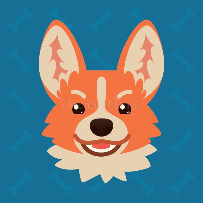 小狗狗情感头 逗人喜爱的狗的传染媒介例证在平的样式的显示tricku情感 邪恶的emoji 图标面带笑容 皇族释放例证