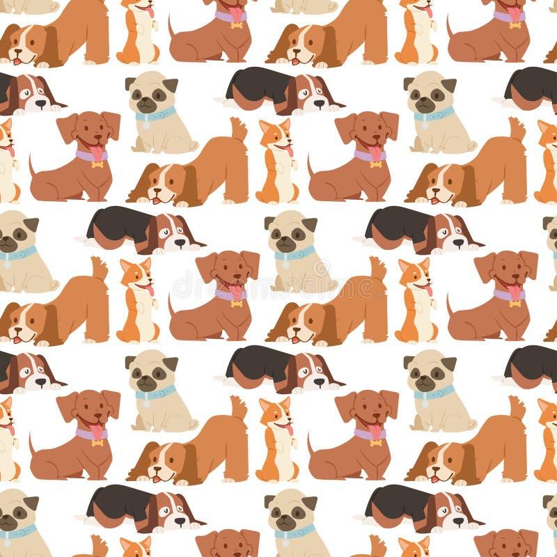 小狗逗人喜爱的使用的狗字符滑稽的纯血统可笑的愉快的哺乳动物的小狗品种无缝的样式背景传染媒介 皇族释放例证