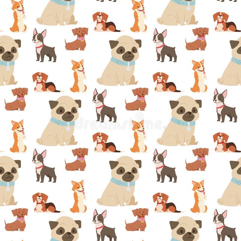 小狗逗人喜爱的使用的狗字符滑稽的纯血统可笑的愉快的哺乳动物的小狗品种无缝的样式背景传染媒介 向量例证
