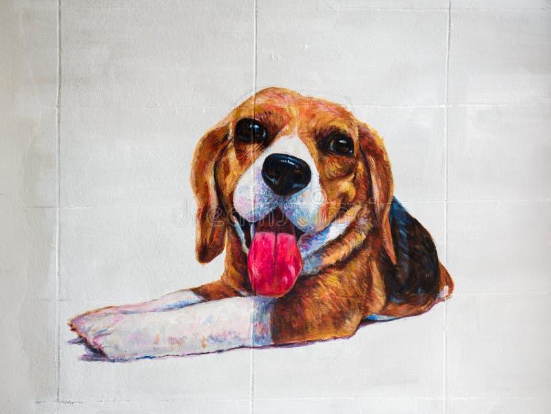 小猎犬丙烯酸酯的颜色绘画在墙壁上的 库存例证