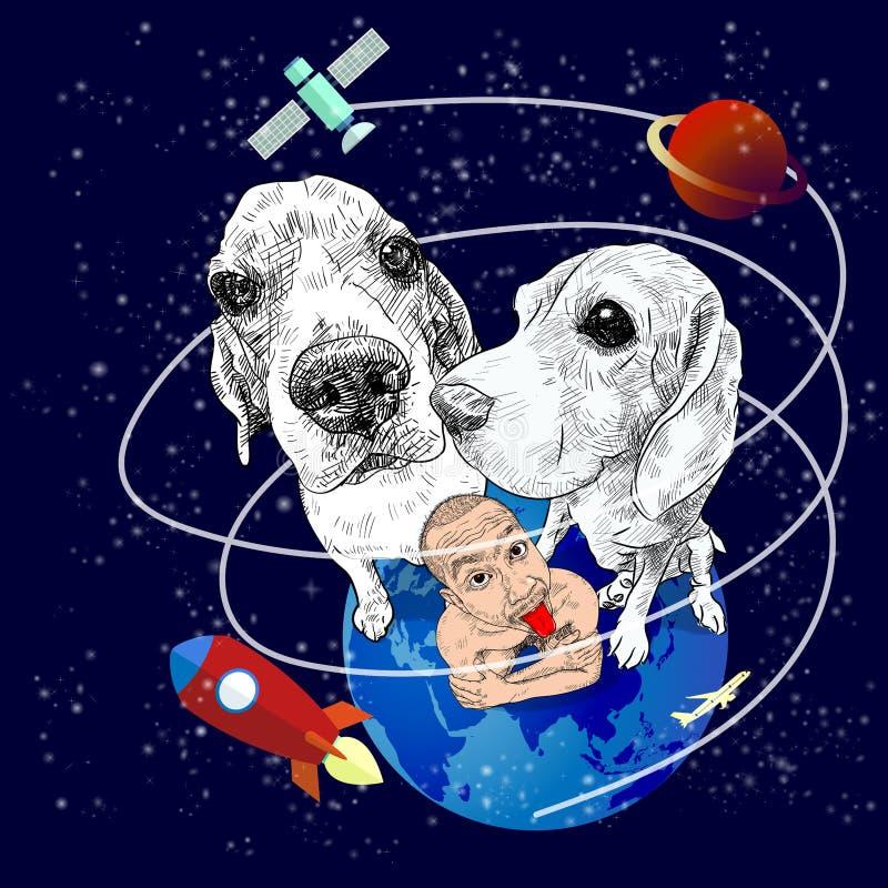 小猎犬狗和滑稽的人地球上 皇族释放例证