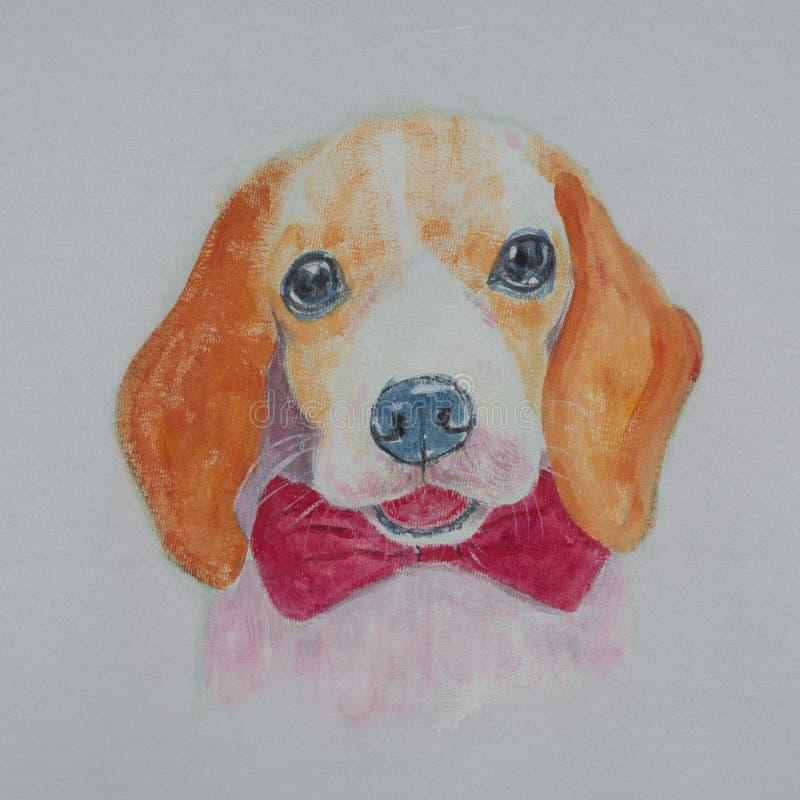 小猎犬狗,在织品的丙烯酸酯的绘画画象  库存例证