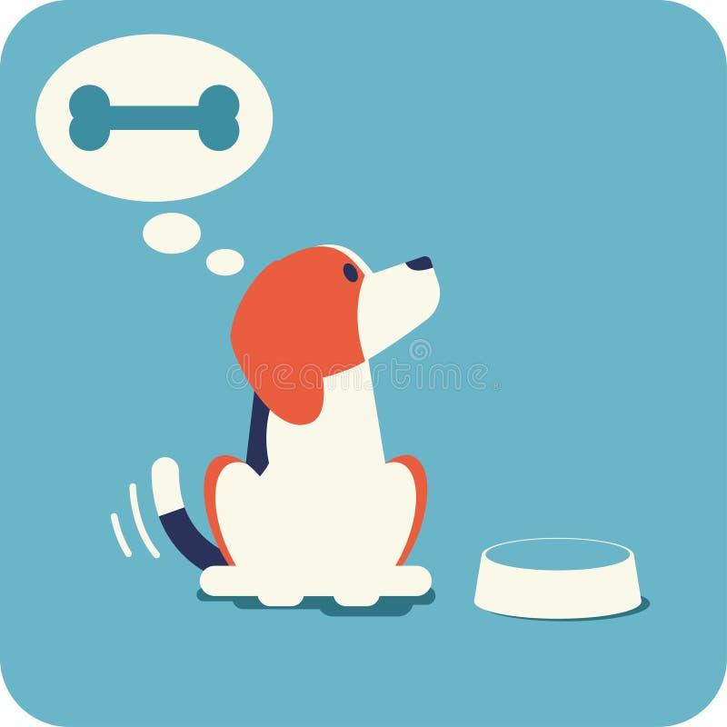 小猎犬等待的哺养 库存例证