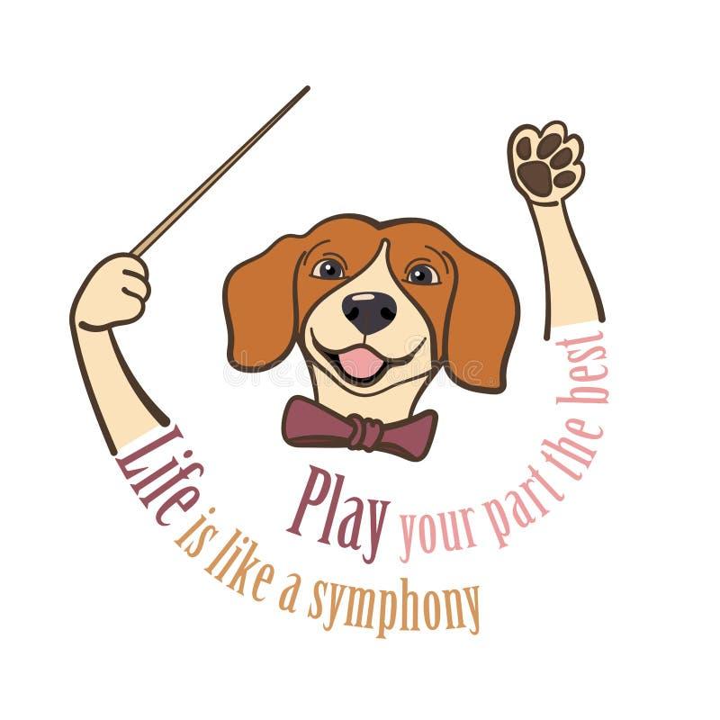 小猎犬,音乐指挥递拿着有口号的警棒 向量例证