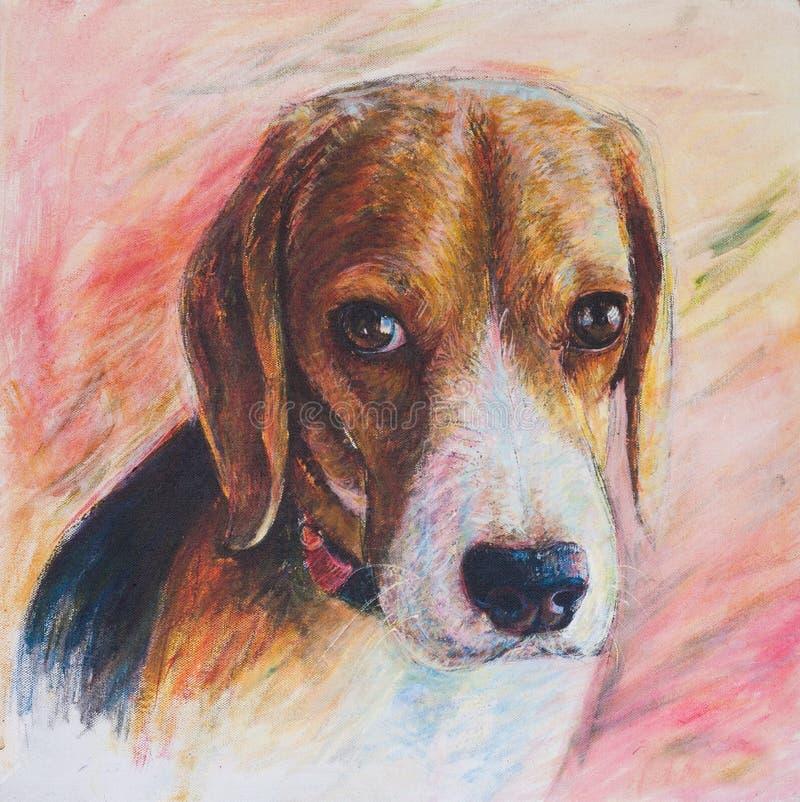 小猎犬画象绘画在帆布的 皇族释放例证