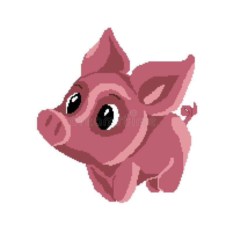 小猪桃红色,画在正方形,映象点 逗人喜爱的动物 也corel凹道例证向量 库存例证