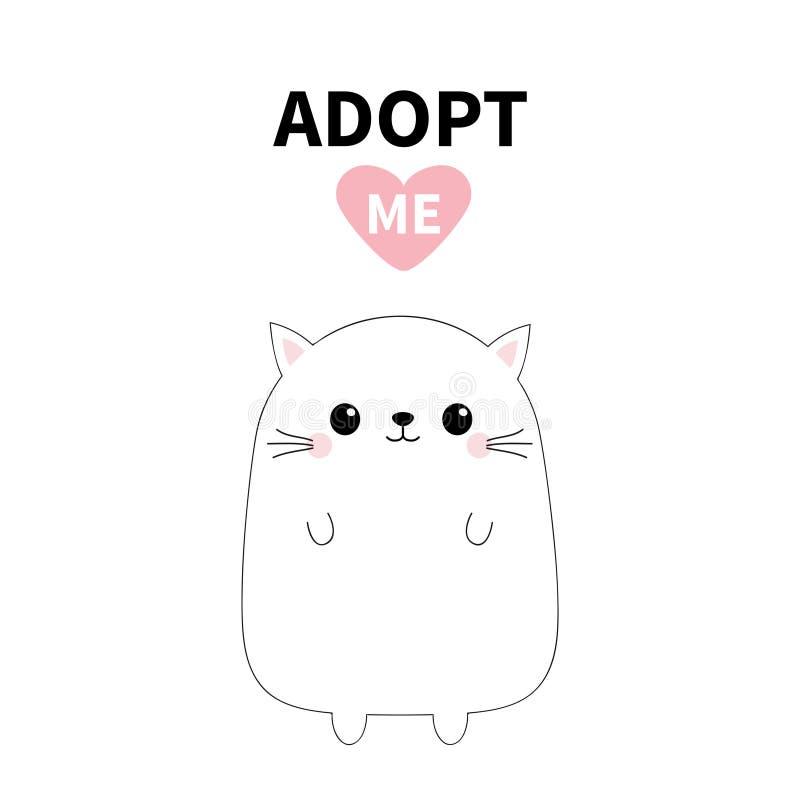 小猫剪影 采取我 桃红色重点 宠物收养 Kawaii动物 逗人喜爱的动画片全部赌注字符 滑稽的小猫 帮助无家可归者 皇族释放例证