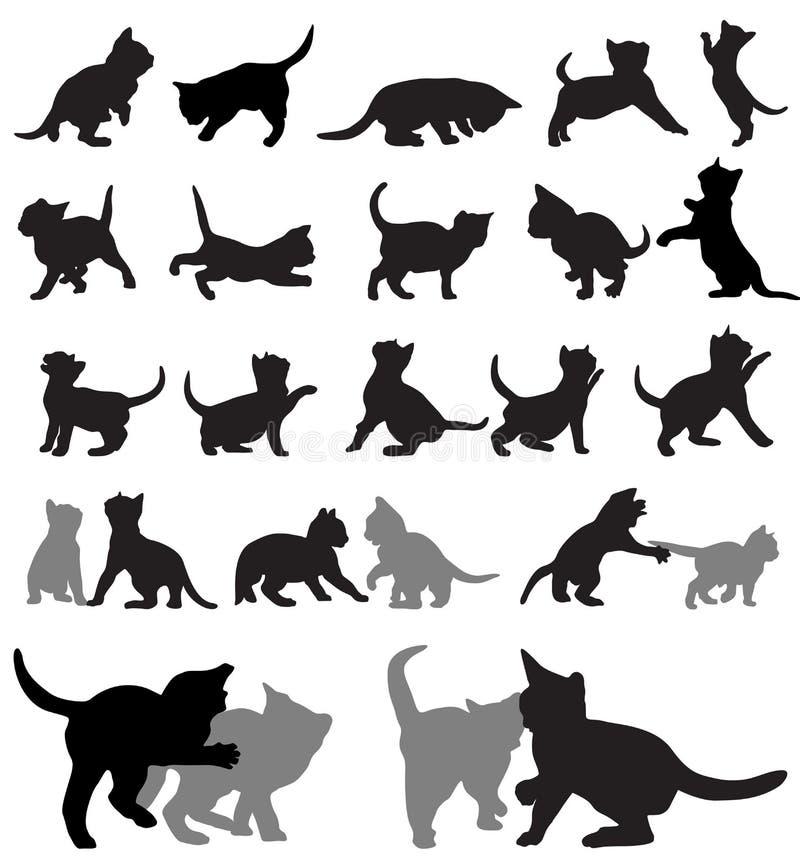 小猫剪影 向量例证