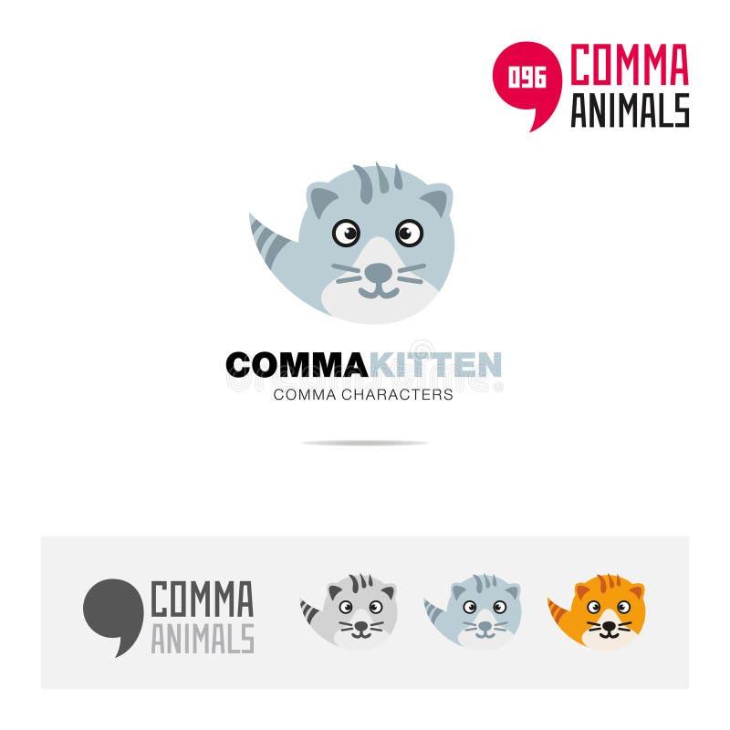 小猫动物概念象集合和现代品牌身份商标模板和根据逗号的app标志签字 皇族释放例证