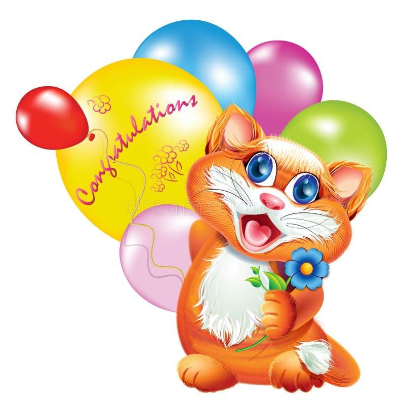 小猫祝贺 库存图片