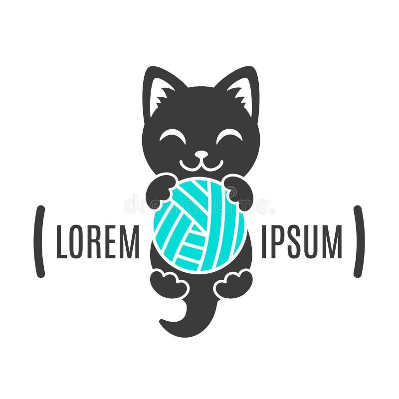 小猫黑形状与球的在爪子 猫商标 商店和手工制造公司的简单的动物略写法 库存例证