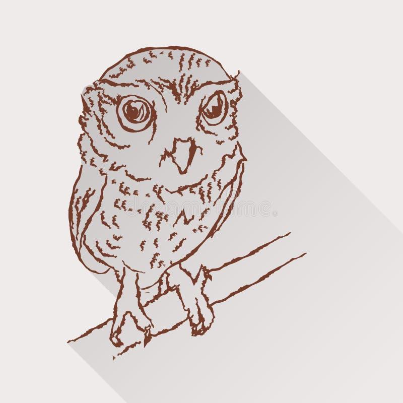 小猫头鹰图画与长的阴影的 皇族释放例证