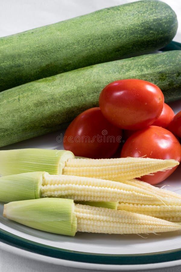 小玉米用黄瓜和蕃茄 免版税库存照片