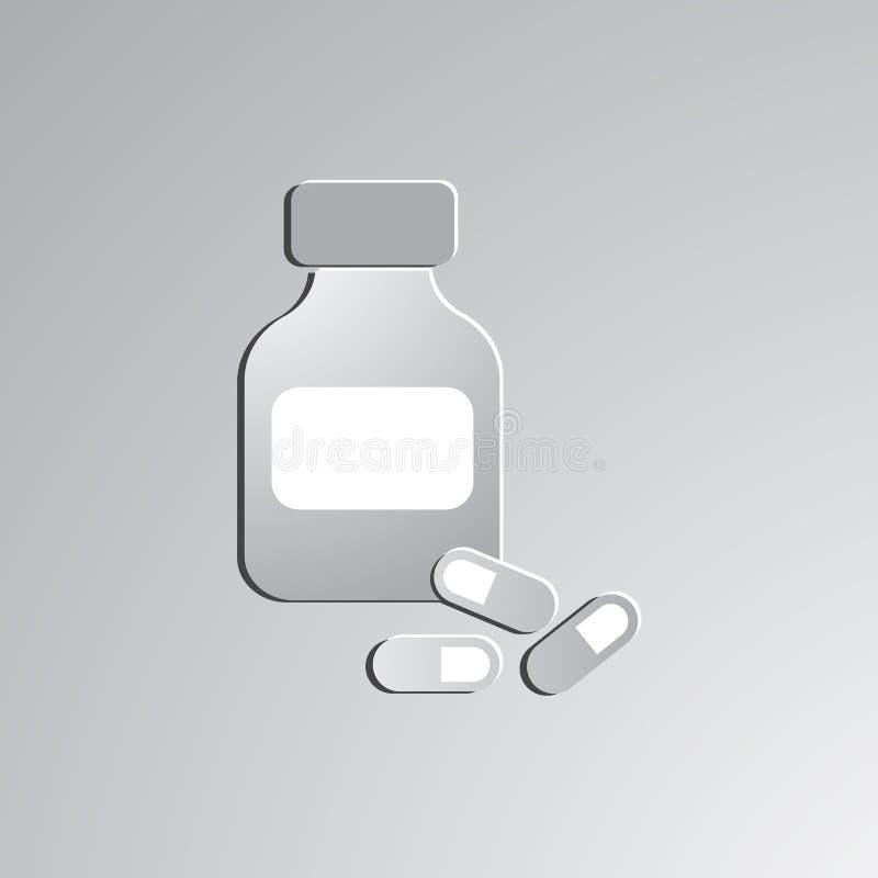 小瓶和药片 向量例证
