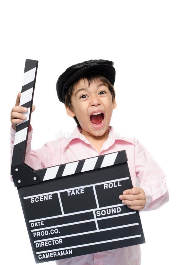 小男孩作为板岩演播室 免版税库存照片