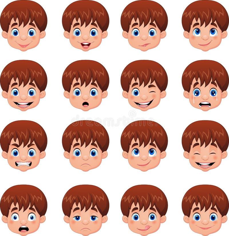 小男孩各种各样的面孔表示 皇族释放例证