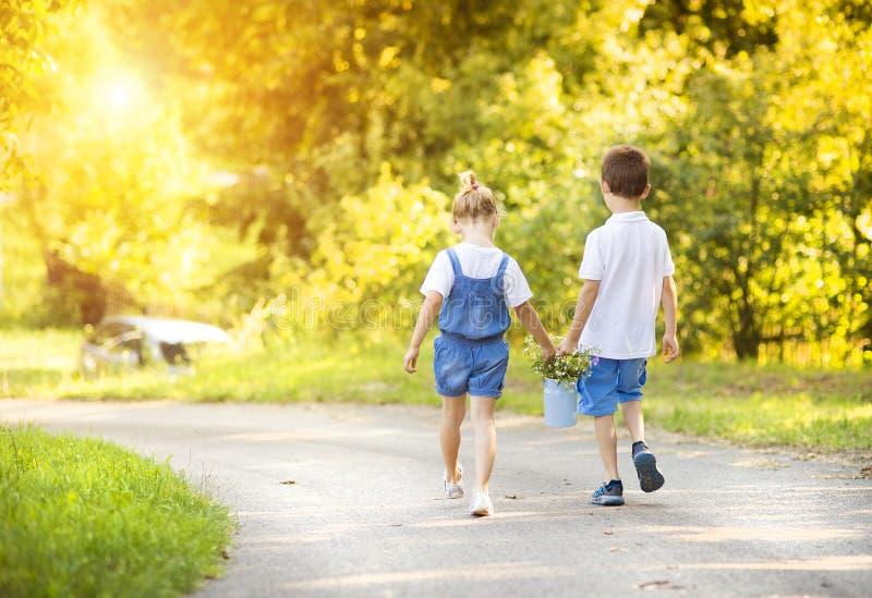 小男孩和女孩步行的 库存照片