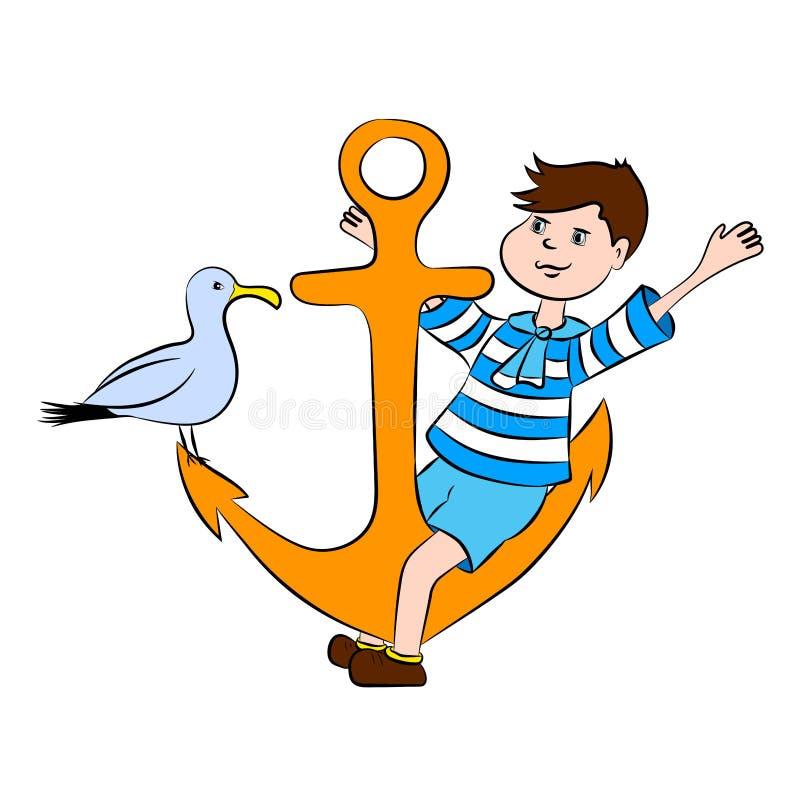 小男孩和海鸥坐船锚 免版税库存照片