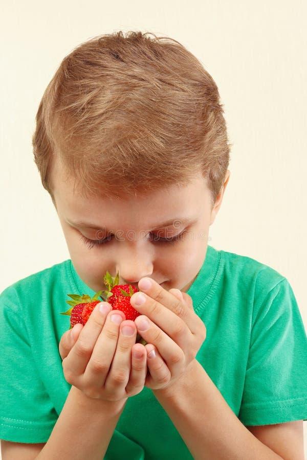 小男孩嗅到的极少数新鲜的成熟草莓 免版税库存图片