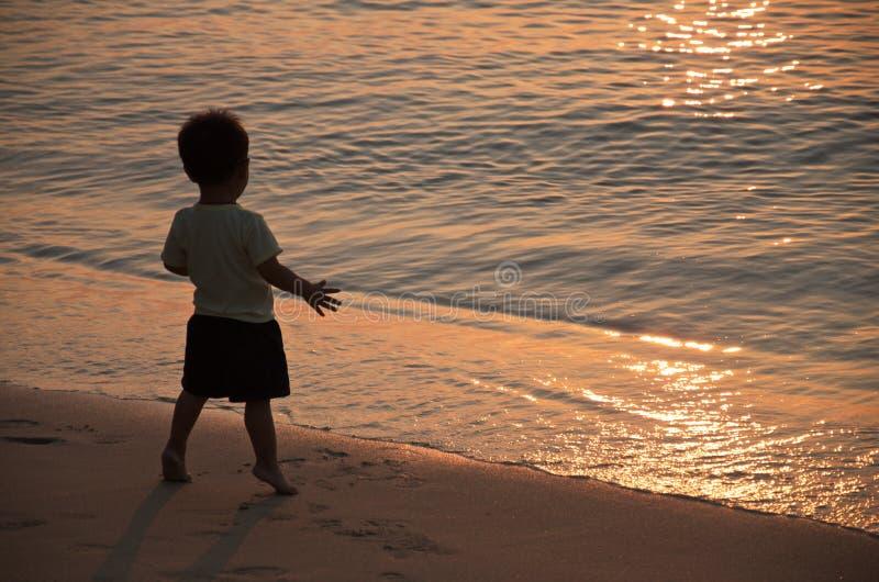 小男孩在日落的光芒的海滨站立 库存照片
