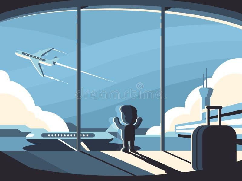 小男孩在机场终端 向量例证