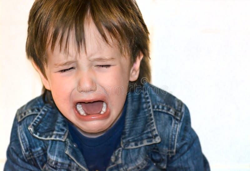 小男孩在白色背景哭泣 勃然大怒孩子 库存照片