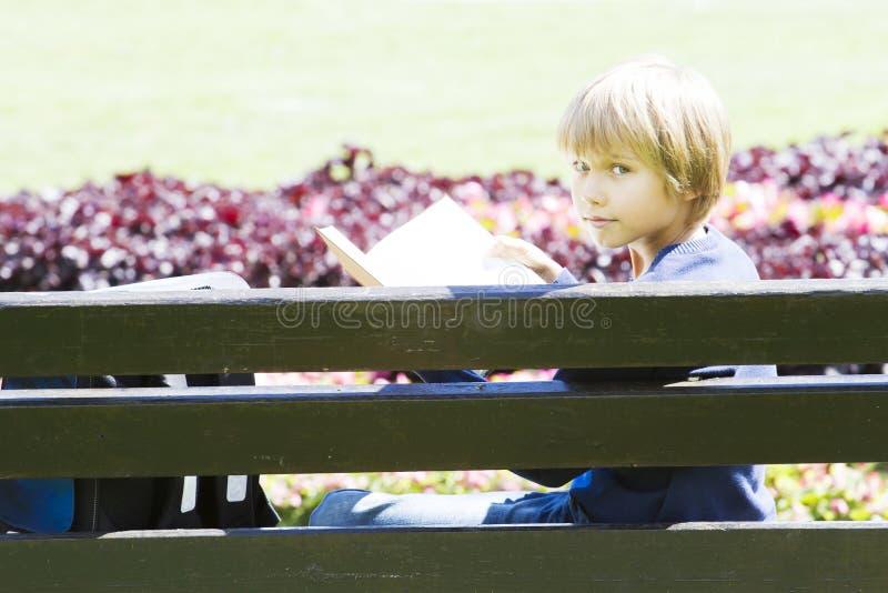 小男孩在长凳的阅读书在公园 免版税库存照片