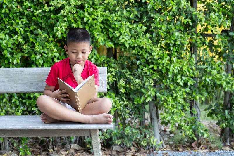 小男孩坐在他的读bo的下巴的长木凳手 免版税库存图片