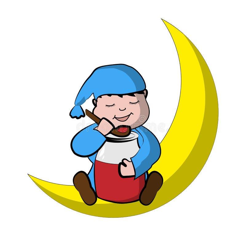 小男孩坐月亮并且吃果酱 免版税库存照片