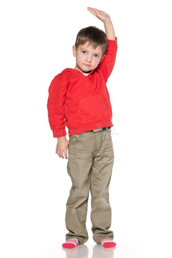 小男孩显示他的高度 免版税库存照片