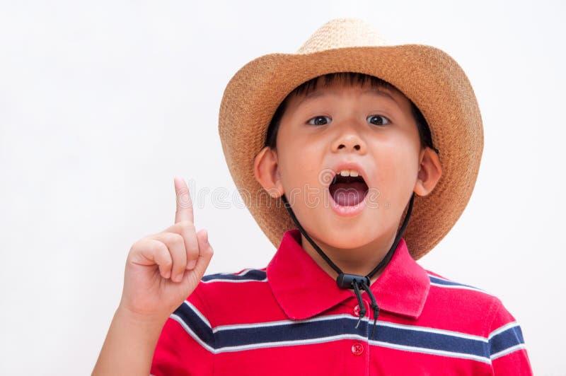 小男孩有一个大想法! 免版税图库摄影