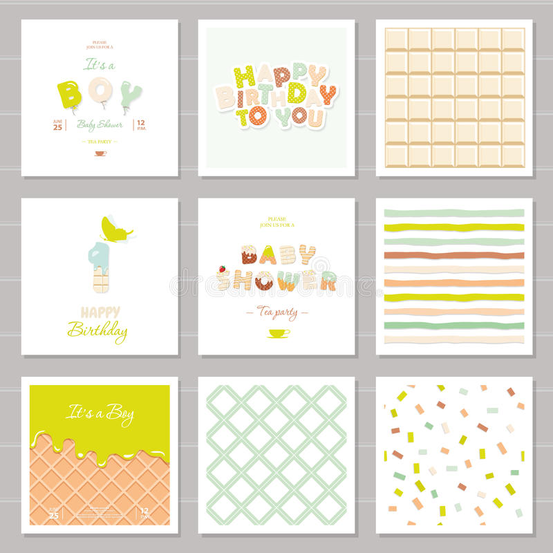 小男孩生日和婴儿送礼会邀请卡集 一年周年 甜点和气球信件 逗人喜爱欢乐 库存例证