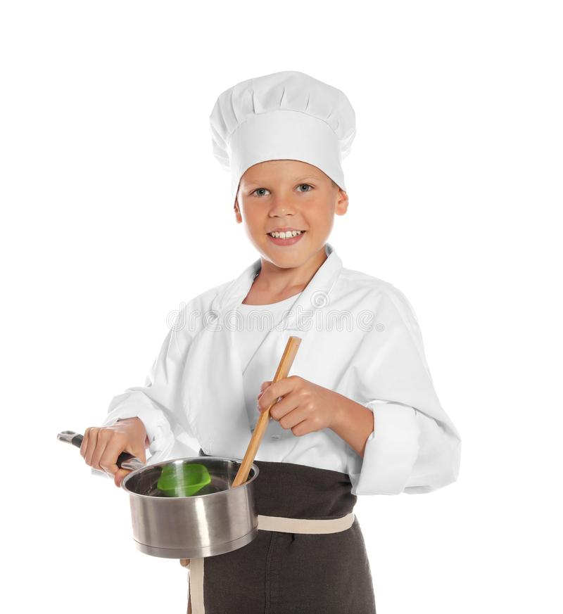 小男孩画象厨师帽子的有平底深锅的 免版税库存图片