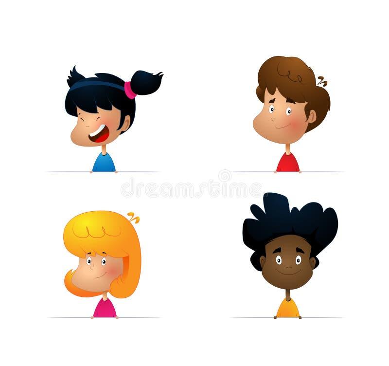小男孩画象的动画片汇集 向量例证