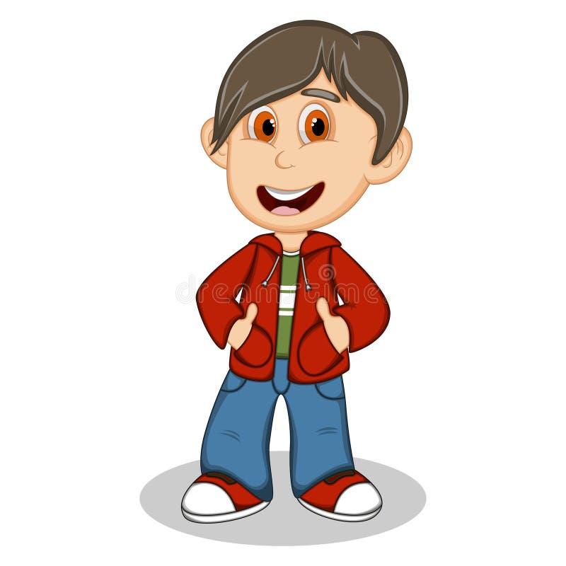 小男孩穿一件红色夹克的和蓝色长裤称呼动画片 皇族释放例证
