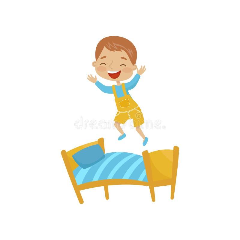 小男孩跳跃在床上的,流氓快乐的孩子,在白色背景的坏儿童行为传染媒介例证 向量例证