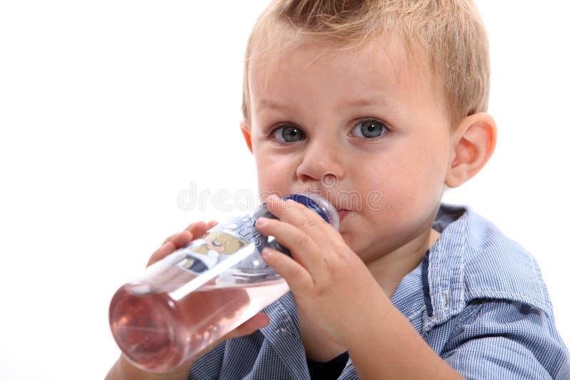 小男孩饮用水 免版税库存图片