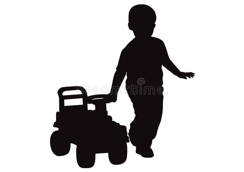 小男孩驾驶婴孩` s汽车,剪影 库存例证