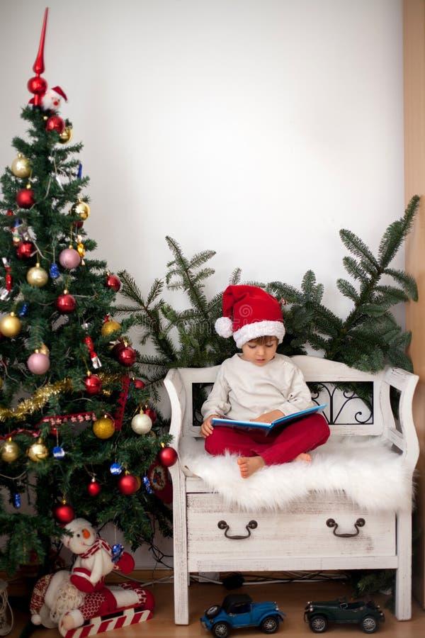 小男孩,坐长凳在圣诞树下,吃choc 库存图片