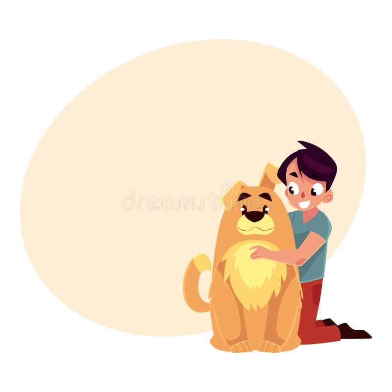 小男孩,孩子,与大蓬松棕色狗朋友的孩子,伴侣 向量例证