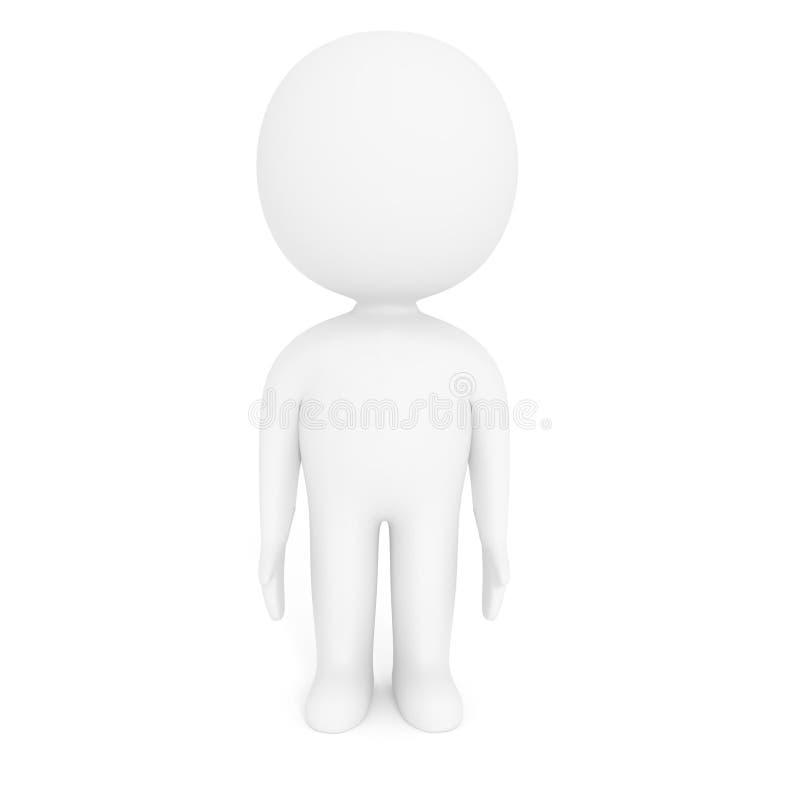 小白人在3D翻译的被隔绝的白色背景站立 向量例证
