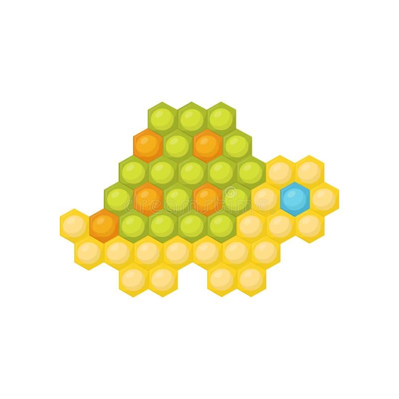 小的乌龟由多彩多姿的儿童s马赛克制成 孩子的教育比赛 平的传染媒介设计 皇族释放例证