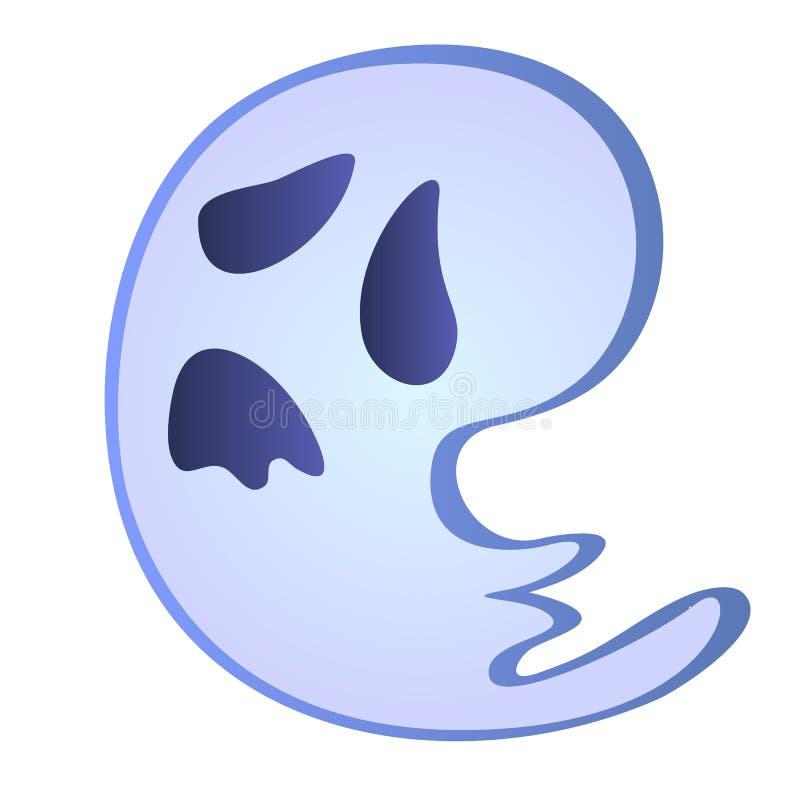小的动画片a鬼魂在白色背景隔绝了 传染媒介动画片特写镜头例证 向量例证