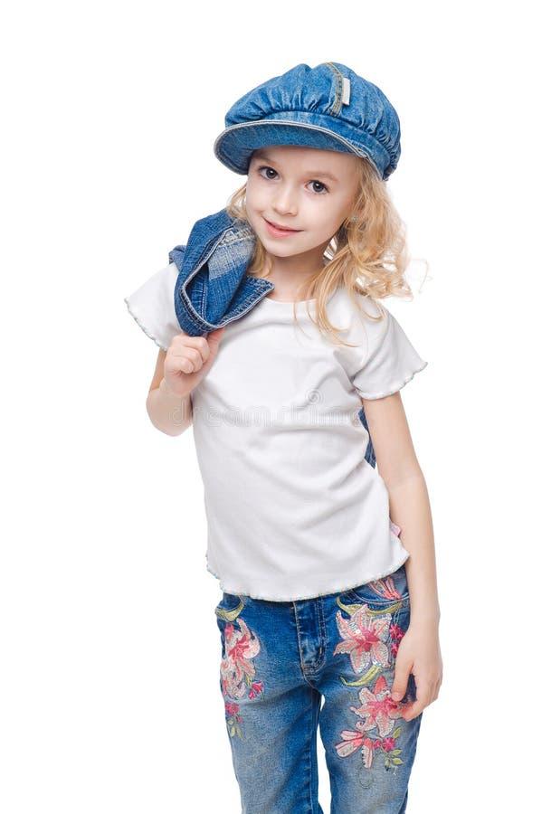 小的微笑的女孩纵向 免版税库存图片