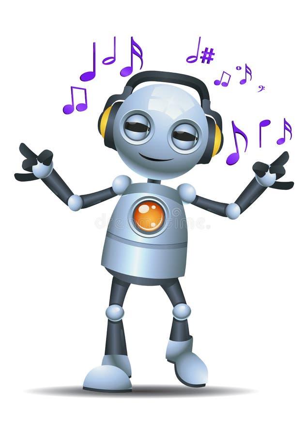 小的机器人愉快的佩带的耳机听的音乐 向量例证